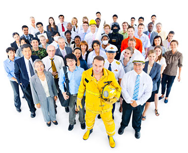People from different professions standing together looking upward