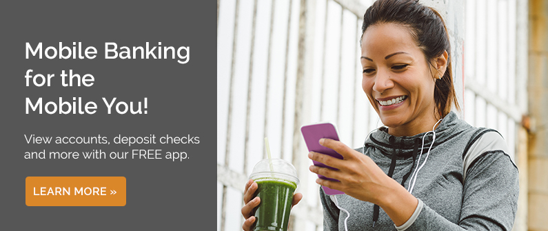 Mobile Banking for the mobile you - Woman checking account on mobile phone while drinking juice